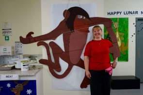 Creative Volunteer Sue and her big monkey decoration