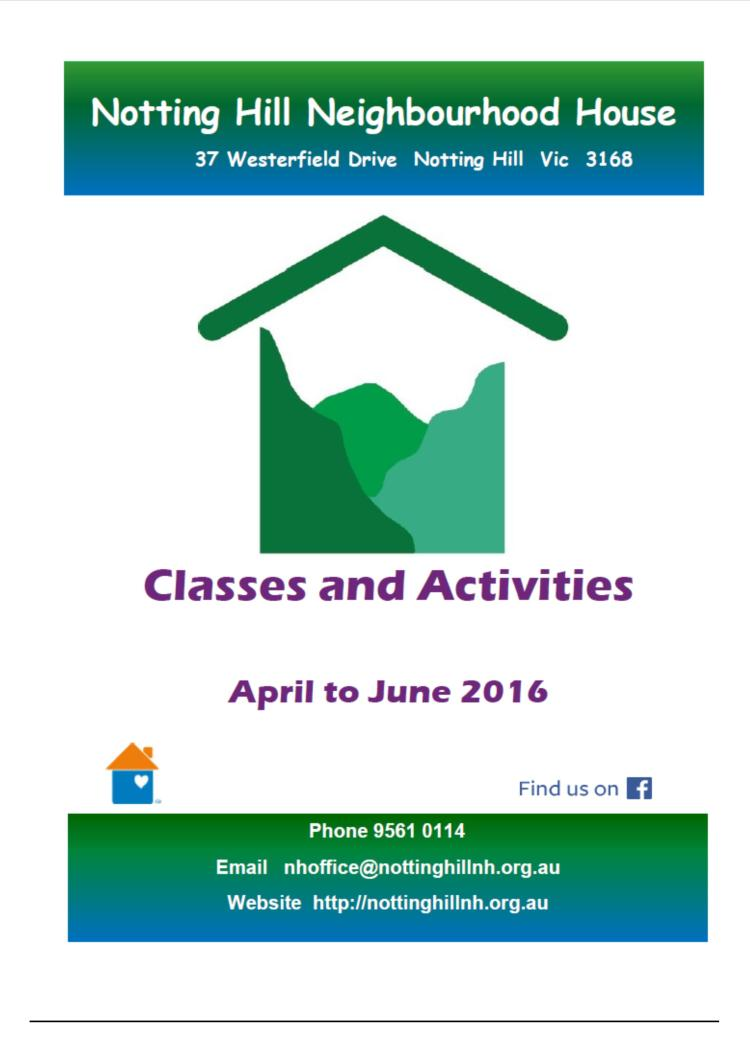 2nd Term classes & activities
